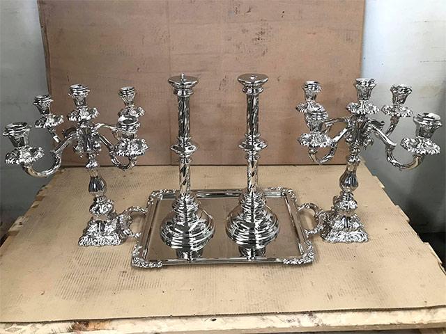Restauración y limpieza de candelabros, bandejas y piezas de cubertería en Zaragoza